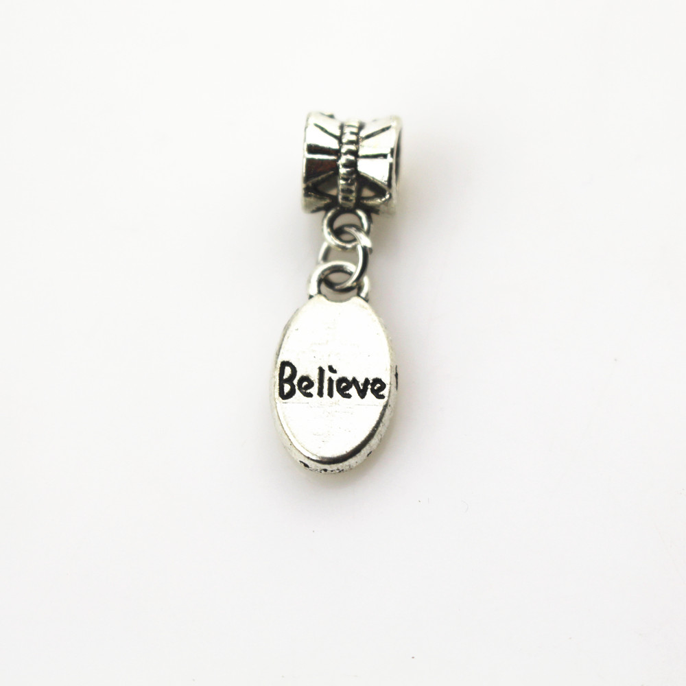 Free shipping 50pcs/lot believe charms big hole pendant beads fit women bracelet & bangle diy jewelry dangle charms