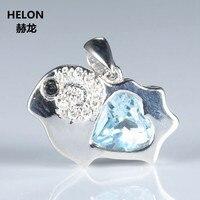 Милый стерлингового серебра 925 пробы кулон 7 мм Сердце Природный Голубой топаз si/h Алмазы без Цепочки и ожерелья Мода белый позолоченные