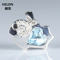 Cute 925 Sterling Silver Pendant 7mm Heart Natural Sky Blue Topaz SI H Diamonds Without Necklace