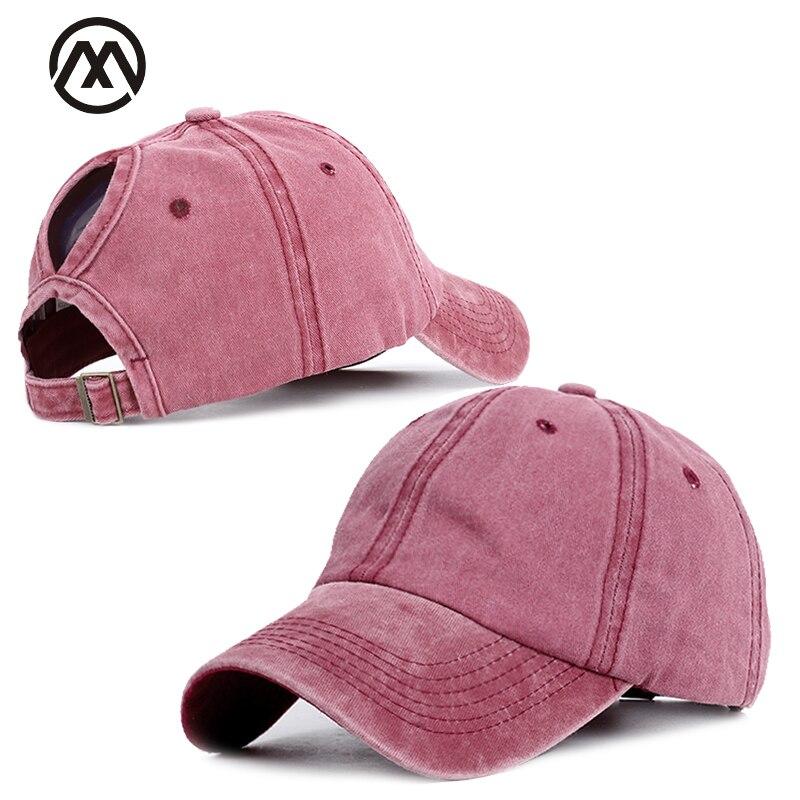 Retro Solid Color Fashion   Baseball     Caps   Ms. Ponytail   Baseball     Cap   High Quality Adjustable outdoor Visor Truck Driver hats bonnet