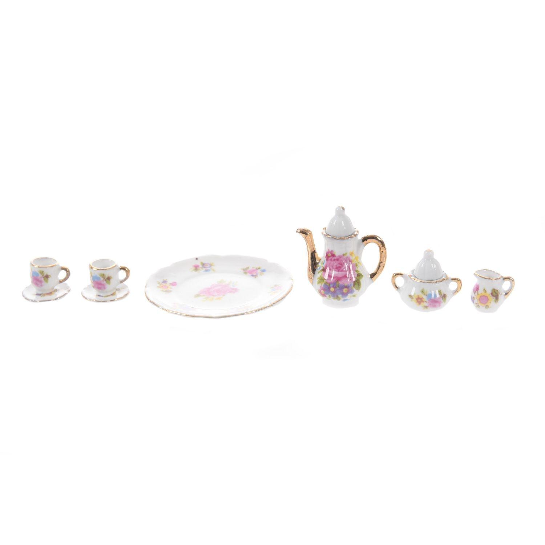 10pcs Dollhouse Miniature Dining Ware Tea Set Dish Cup PlateER