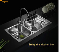 Gorlde Kitchen 304 Stainless Steel Sink Double Groove Package Anti Oil Thickening Basin Sink Trash 70926