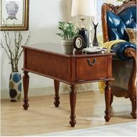 American Country Retro Bedroom Two Drawers Bedside Cabinet European Style Cabinets Round Decorative Solid Wood Classical
