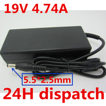 купить HSW 19V 4.74A 5.5X2.5mm Laptop Charger AC Adapter Power Supply for TOSHIBA SATELLITE A300 L300D C660 Pro U300 Pro L100 дешево