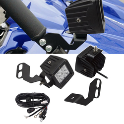 3 inches 18W LED Spot Light Pods with Wiring Kit and A-Pillar Mounting Brackets Fits Honda Pioneer Kawasaki Teryx