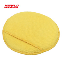 """Marflo 5-Pack 160mm"""" Diameter Soft Microfiber Car Wax Applicator Pads Polishing Sponges with pocket for apply and remove wax"""
