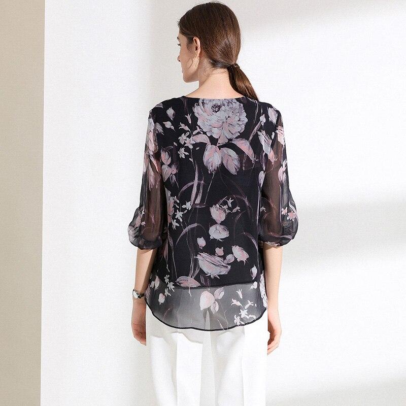 100% размера плюс шелковая блузка Женский Топ простой дизайн круглый вырез рукава Свободный Топ Новая Мода Высокое качество шелковые блузки 2019 - 2