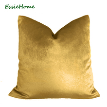 ESSIE HOME Luxury Glossy Silk Velvet Cushion Pillow Bronze Gold Cover Case Lumber