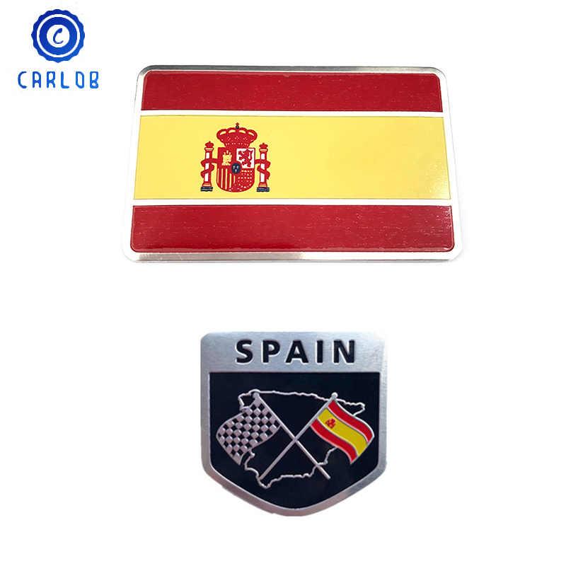 CARLOB アルミカーアクセサリースペイン国旗ステッカーグリルエンブレムオートバイデカールヤマハピアジオベスパフォード Kawasaki