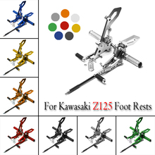 For Kawasaki Z125 Foot Rests Motorcycle Full CNC Aluminum Adjustable Footrest Sets Rear Pegs Accessories