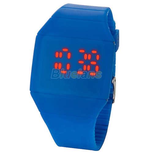 Reloj de pulsera deportivo de silicona con Led rojo Digital táctil para mujer, para hombre, a la moda, ultrafino, de lujo, para mujer, 0W1B