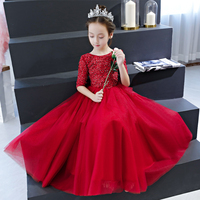 Wine Red Holy Communion Dress Half Sleeve Crystal Flower Girl Dresses for Wedding Ball Gown Tulle Princess Evening Gowns B336