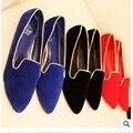 Дамы Дешевые Ретро Равнина большие размеры (4-15) острым носом обложка каблуки Платформы Женщин обувь одного Западной летом стиль черный красный синий