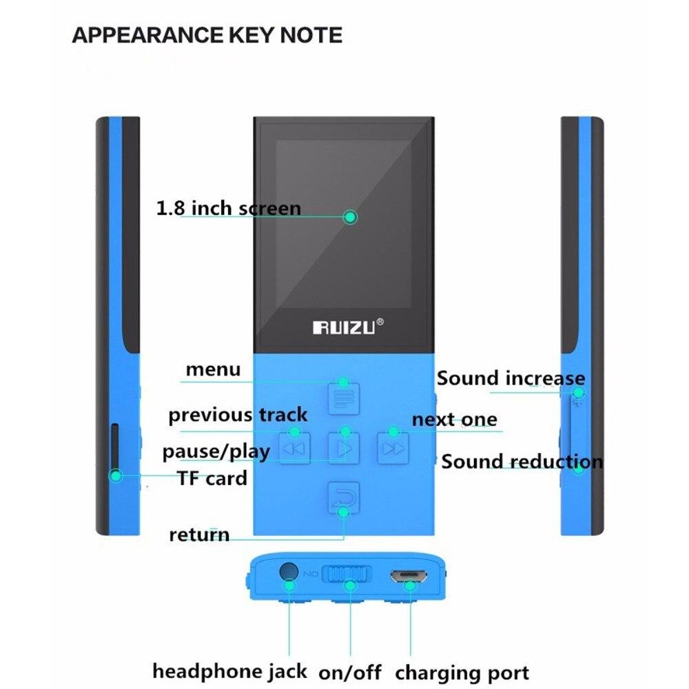 Lecteur mp3 RUIZU X18 lecteur de musique MP3 enregistreur Bluetooth FM WMA WAV APE FLAC AVI prise en charge carte MicroSD à 64 go écran couleur - 4