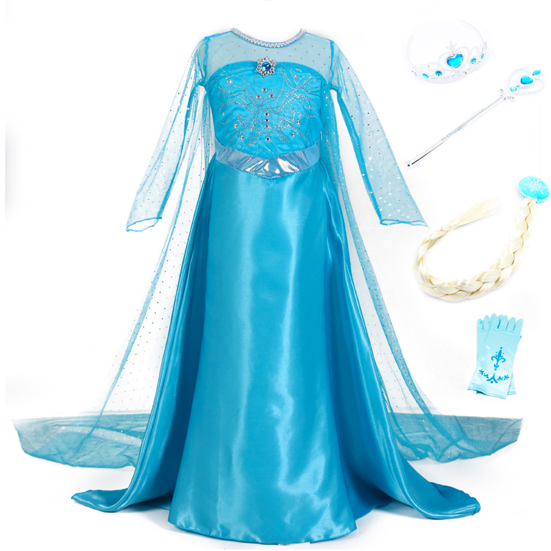 Girls Princess Anna Elsa Dress Costumes Snow Queen Cosplay Dresses Clothes Children Halloween Christmas Party Dress Vestidos