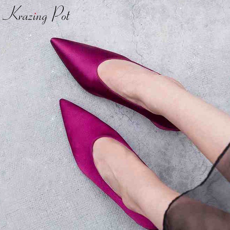 Krazing pot silk natural leather pointed toe thick high heels slip on classic women pumps European decoration elegant shoes L52 women s fashion pointed toe elegant women pumps high heels flower embroider silk super high heel 9cm black green slip on shoes