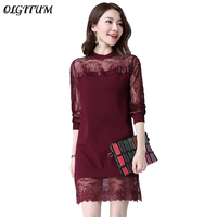 2017 Spring Autumn Fashion Knit Sweater Round Neck Sexy Lace Stitching Pullover Women Loose Sweater Long