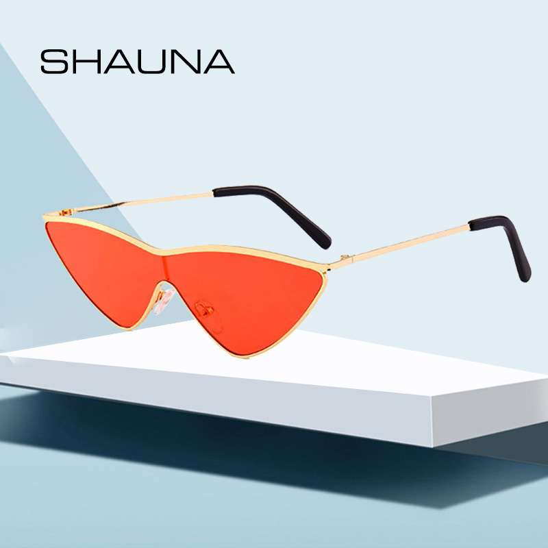 SHAUNA Fashion Candy Color Women Sunglasses CatEye retro Ladies Shades Red Tinted Lens UV400 tints and shades