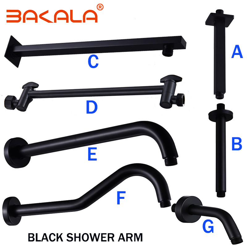 BAKALA  Black Stainless Steel Wall Mounted Or Ceiling Mounted  Bathroom Shower Arm Shower Rod