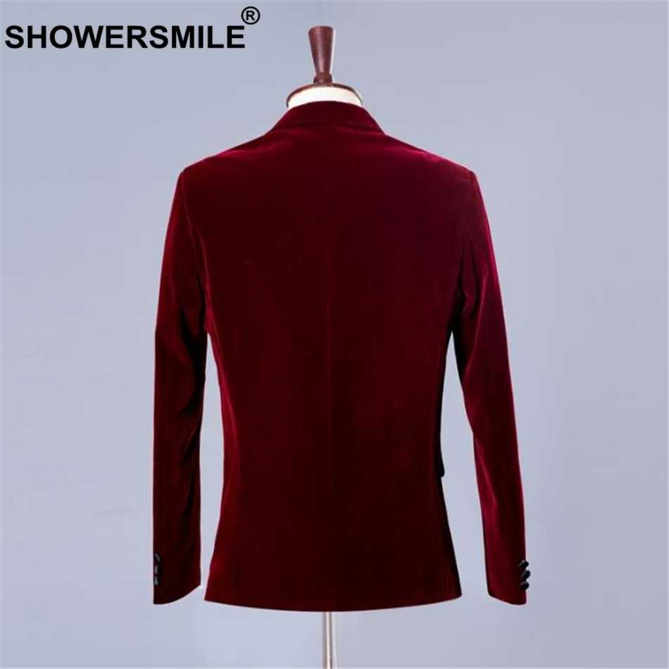 SHOWERSMILE 3 Piece Suits Men Dress Blazer Velvet Burgundy Wedding Groom Male Suits Slim Fit Red Suit Jacket+Pants+Bowtie