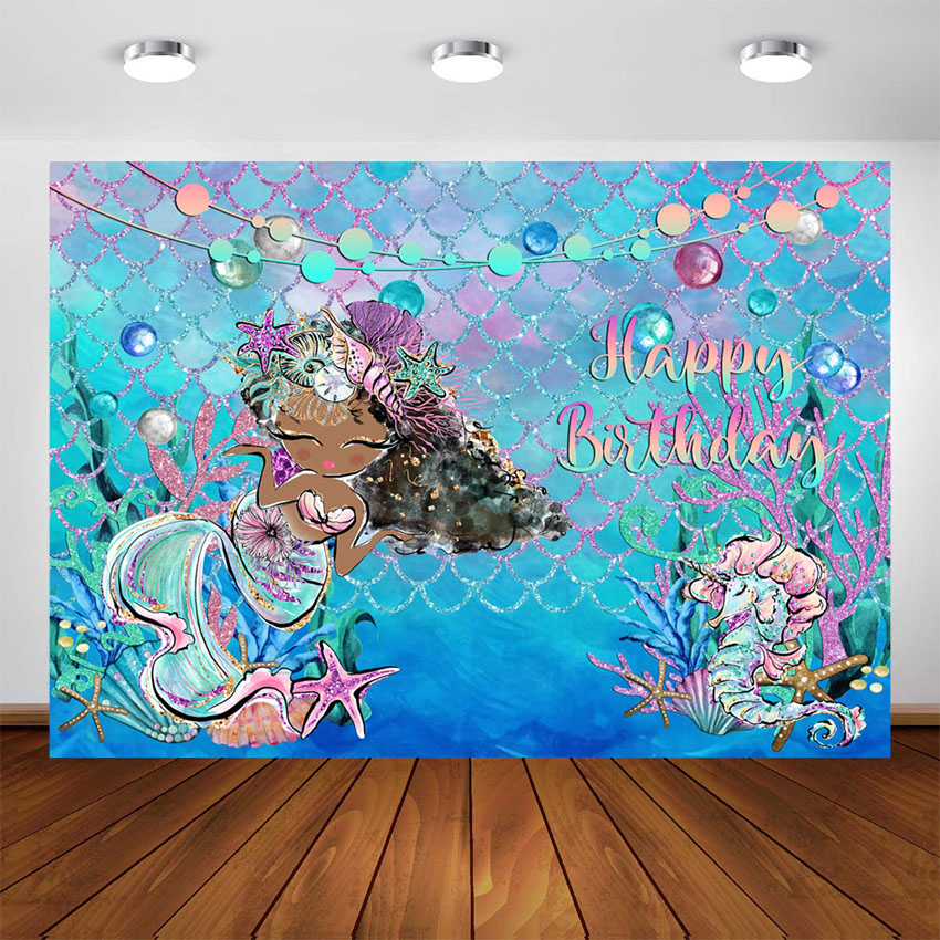 Mehofoto Mermaid Scales Backdrop 7x5ft Under The Sea Little Mermaid Background