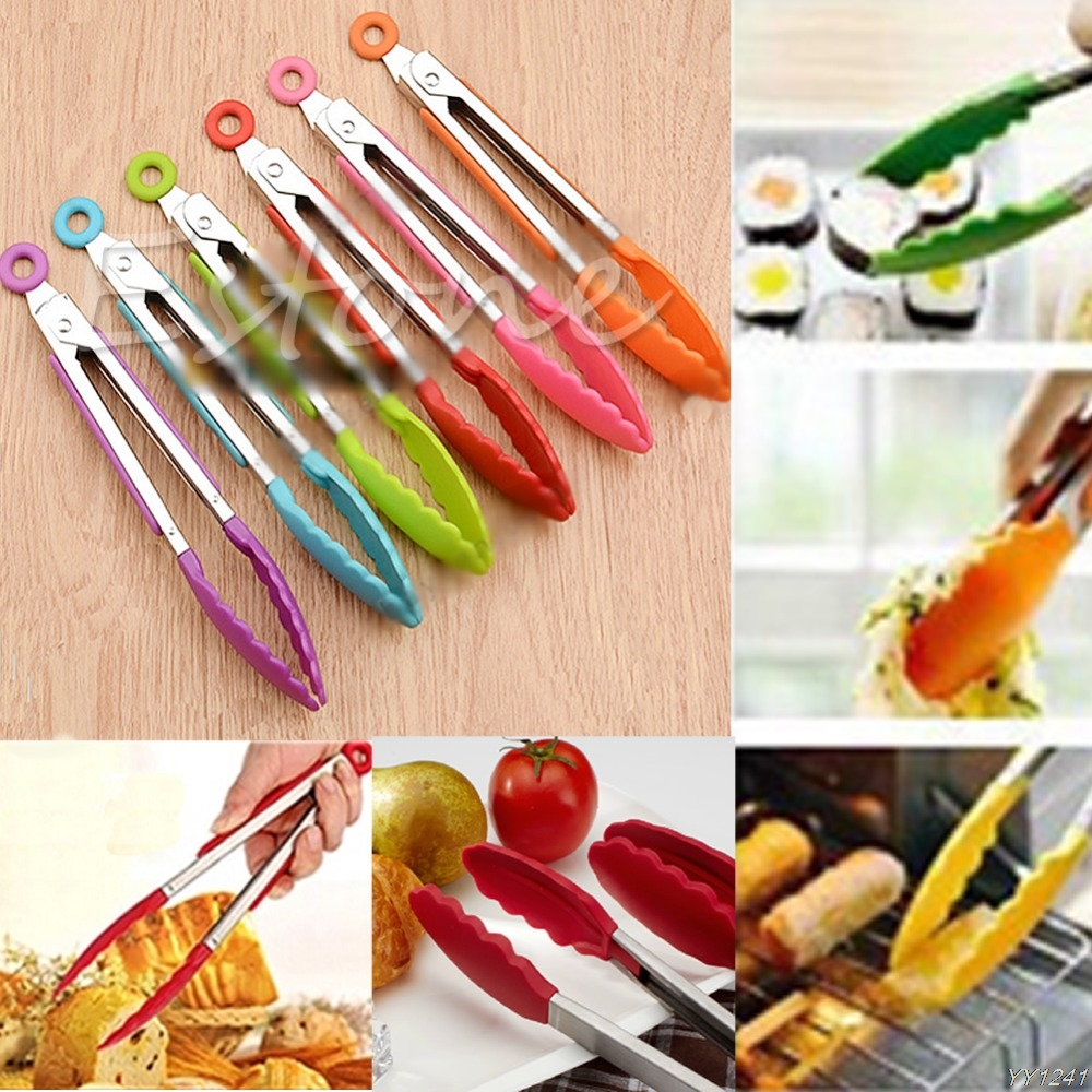 Stainless-Steel Utensil Salad Bbq-Tongs Serving Cooking Kitchen Silicone Handle NEW