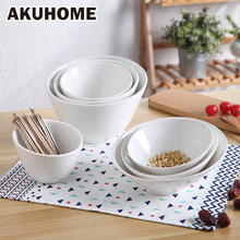 Ceramic Rice Bowl Tableware Pure White Oblique Soup Bowls Simple and Creative Salad Cutter Bowl Akuhome