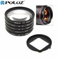Puluz 6 en 1 52mm filtro de la lente close-up lente macro filtro + filtro anillo adaptador para gopro hero4/3 +