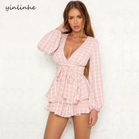 yinlinhe Plaid Pink Playsuit Women Summer Overalls Long Sleeve V neck Sexy Women Short Jumpsuit white Elegant Ruffle Rompers 376