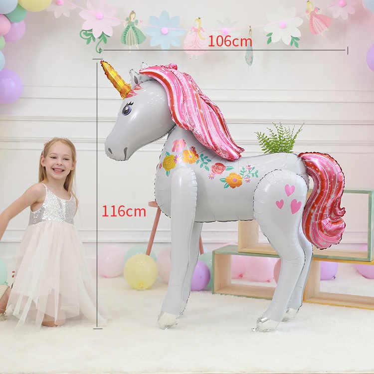 كبيرة الحجم ثلاثية الأبعاد يونيكورن بالونات الزفاف تخطيط حفلات ديكور بالونات استحمام الطفل فتاة حفلة عيد ميلاد لعبة زينة