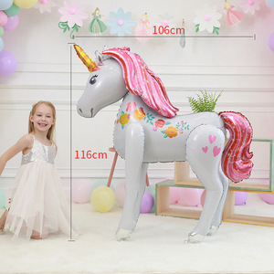 Image 2 - Large Size 3D Unicorn Balloons Wedding party layout decorative balloons Baby Shower Girl Birthday Party toy Decorations