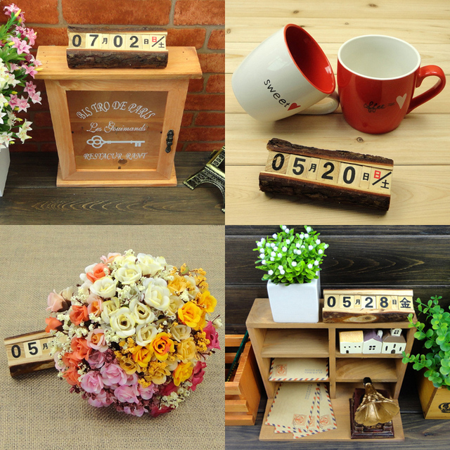 Free Shipping Wood Small Calendar Decoration Home Desktop Decoration Gift