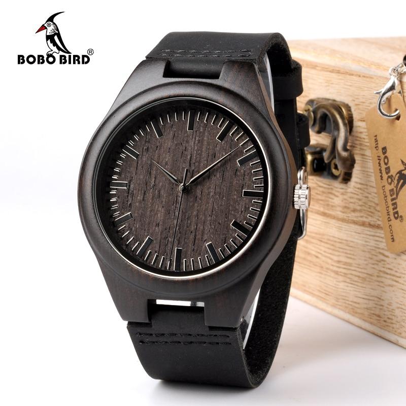 BOBO VOGEL WD26 Mens Designmarke Luxus Schwarz Holz Uhren echt Leder Quarzuhr für Männer Natürliche Ebenholz Drop verschiffen
