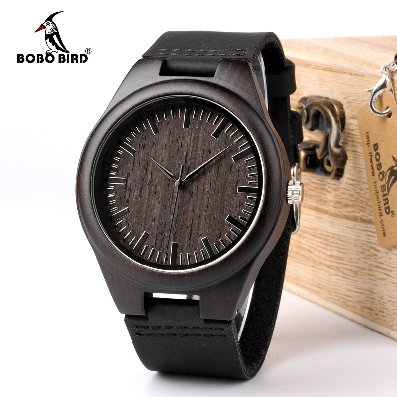 BOBO BIRD WD26 Mens Design Brand Luxury Black Wooden Watches Real Leather Quartz Watch for Men Natural Ebony Wood Drop Shipping bobo bird wh05 brand design classic ebony wooden mens watch full wood strap quartz watches lightweight gift for men in wood box