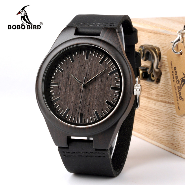 BOBO BIRD WD26 Mens Design Brand Luxury Black Wooden Watches Real Leather Quartz