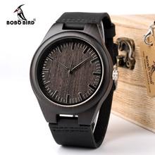 Bobo pássaro wd26 design dos homens marca de luxo preto relógios de madeira relógio de quartzo de couro real para homem natural ébano madeira transporte da gota