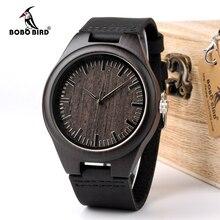 בובו ציפור WD26 Mens עיצוב מותג יוקרה שחור עץ שעונים אמיתי עור קוורץ שעון לגברים טבעי אבוני עץ זרוק חינם