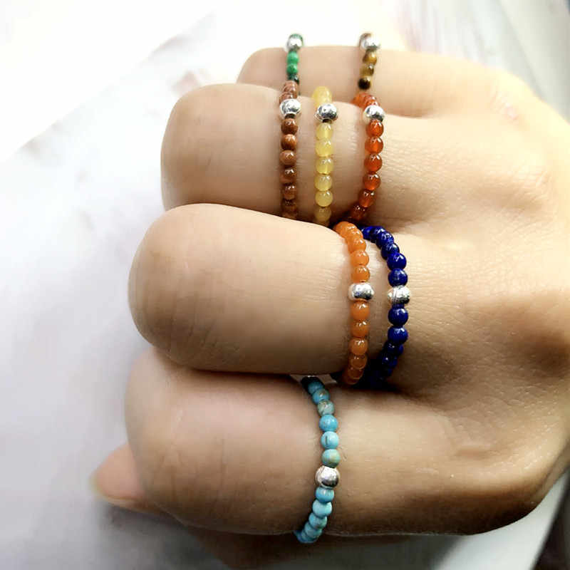FFWFF Handmade หินธรรมชาติคริสตัลแหวนผู้หญิงสาวโอปอล moonstone อารมณ์ wave Energy ชุดแหวน bague ringen