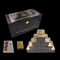 1000pcs Boutique Zimbabwe One Hundred Trillion Dollar Gold Banknote Watermark and 100 Certificates with Wooden Box for Gift