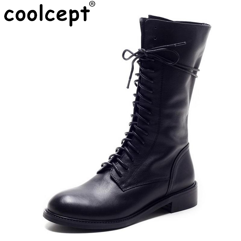 Winter Women Boots Genuine Leather Round Toe Lace Up Half Boots Ladies Flat Botas Mujer Riding Boots Women Shoes Size 34-39 khaki winter boots women flat heels round toe ladies boots shoes women botas altas mujer female winter boots with plush