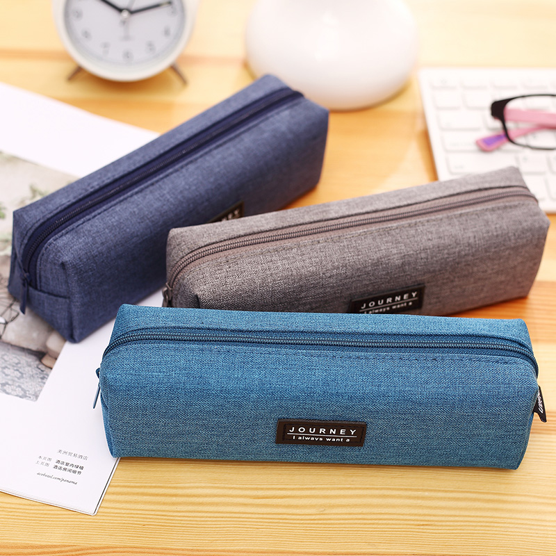 New Style Solid Color Canvas Pencil Case School Supply Japanese and Korean Fashion Simple Zipper Stationery Bag Free Shipping цена