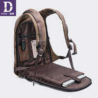 DIDE 2019 Vintage men's backpacks 14&15 inch USB charging backpack Laptop school bag Male travel bags bagpack Leather Waterproof
