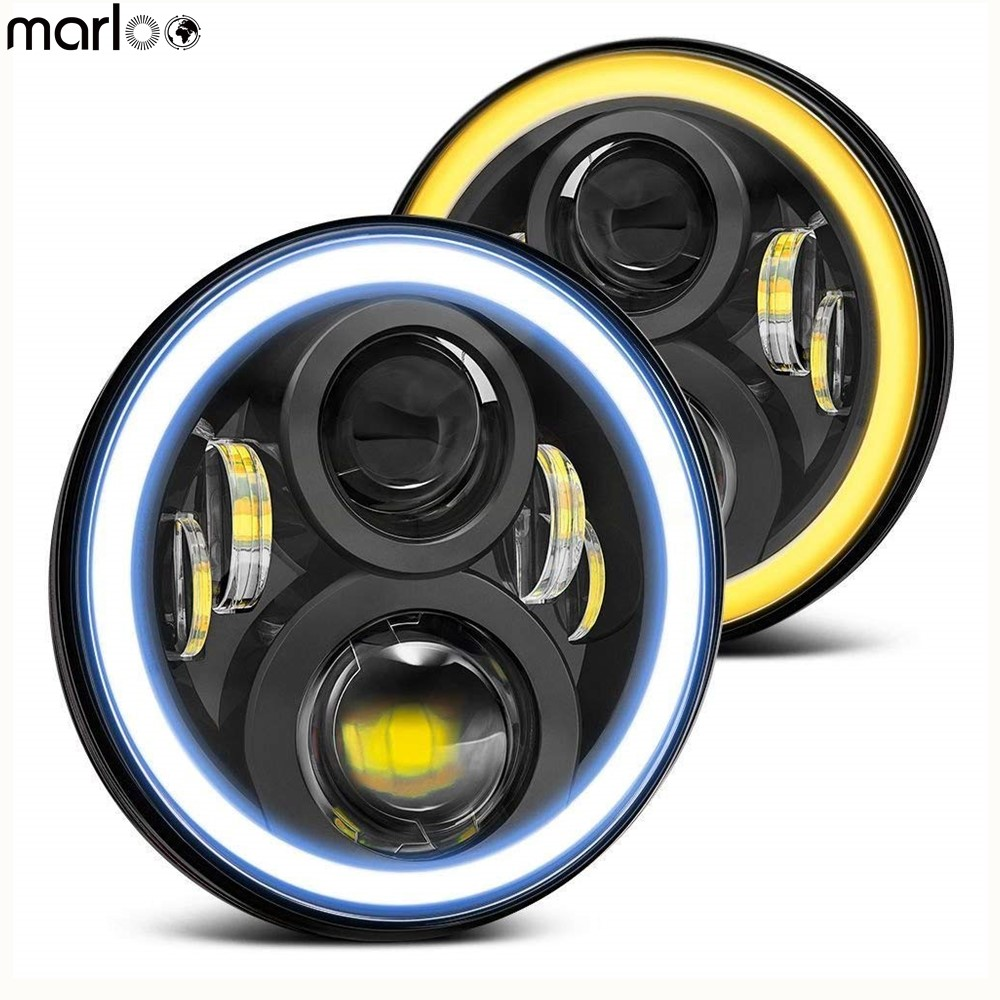 Marloo Pair Black Round 120W Wrangler 7 inch Led Headlight Yellow Amber halo Ring White DRL
