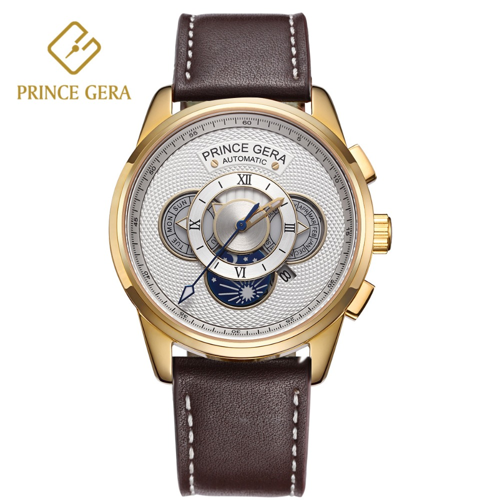 PRINCE GERA 18K Gold Luxury Automatic Watches Golden Watch Case Four Dial Month Day Week Display Mens Top Mechanical WatchesPRINCE GERA 18K Gold Luxury Automatic Watches Golden Watch Case Four Dial Month Day Week Display Mens Top Mechanical Watches