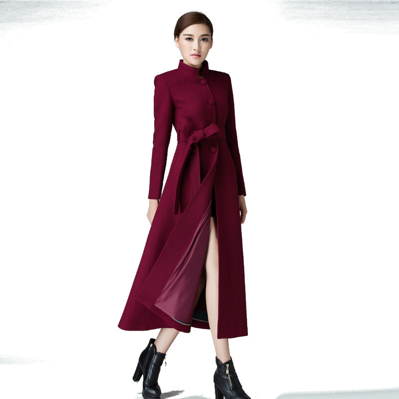 Único breasted 2016 otoño y el invierno de la manera del collar del soporte  abrigo de cachemira más tamaño mujer Lana larga Outwear 38d472f6a004