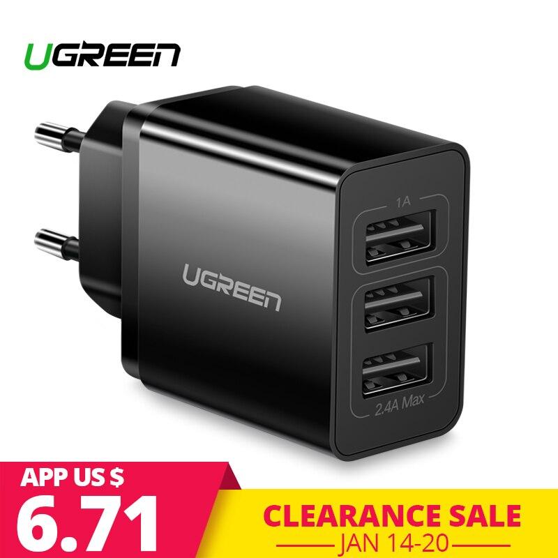 Ugreen cargador USB para iPhone X Xs 8 7 rápido cargador de teléfono para Samsung Xiaomi Huawei cargador de pared adaptador de la UE cargador de teléfono móvil