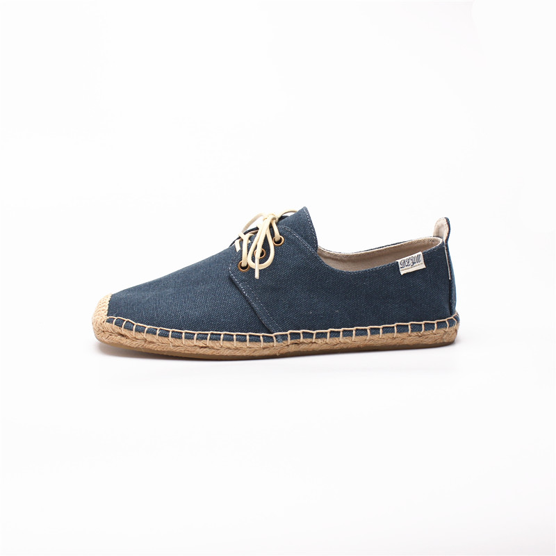 503c57881 Men lace up flat espadrilles in navy blue color, Canvas upper, cotton  fabric lining, rubber outsole-in Men's Casual Shoes from Shoes on  Aliexpress.com ...