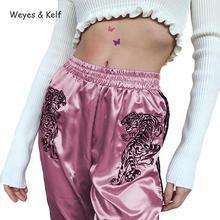 Weyes & Kelf Spring Cartoon Embroidery Ribbon High Elastic Waist Casual Pants Women 2018 Loose Pink  Harem Trousers