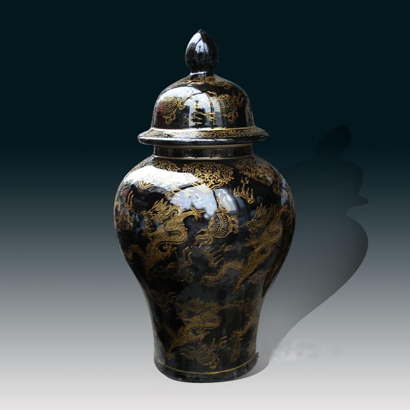 alto grande chino de cermica jarrn de porcelana tarro de jengibre negro dragn de oro