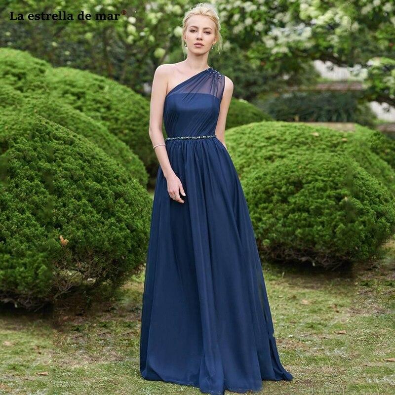Custom Made Navy Blue   Bridesmaid     Dresses   One Shoulder Beaded Waist Floor Length Formal vestido madrinhas de casamento Wedding Gu